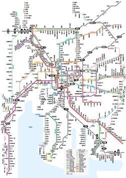関西JR、地下鉄路線図(ベクターデータ)