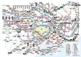 首都圏JR、地下鉄路線図(ラスターデータ)