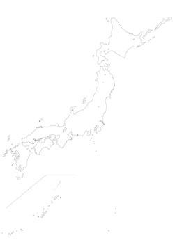 日本地図(海岸線のみ)