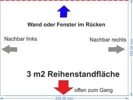 """2 x 1.5 m Eckfläche vor Wand (im Plan """"pink/magenta"""")"""