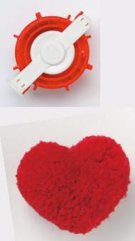 Fabricadora de pompones con forma de corazon