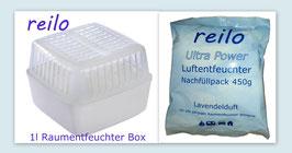 """1Liter Raumentfeuchter Box mit 450g """"Ocean"""" Luftentfeuchter Granulat im Vliesbeutel"""