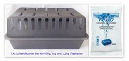 1 XXL Luftentfeuchter Box mit 2x 1kg Ultra Power Luftentfeuchter Granulat (Calciumchlorid) im Vliesbeutel
