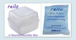 """1Liter Raumentfeuchter Box mit 450g """"Jasmin"""" Luftentfeuchter Granulat im Vliesbeutel"""