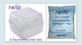 """1Liter Raumentfeuchter Box mit 450g """"Citrus"""" Luftentfeuchter Granulat im Vliesbeutel"""