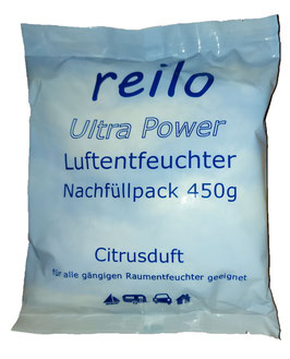 450g Ultra Power Citrusduft Luftentfeuchter Granulat (Calciumchlorid) im Vliesbeutel