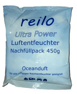 450g Ultra Power Oceanduft Luftentfeuchter Granulat Flakes (Calciumchlorid) im Vliesbeutel