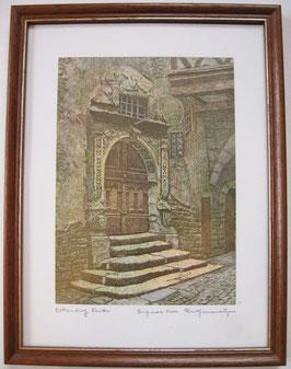 Ernst Geissendörfer Farbradierung Rothenburg Rödergasse