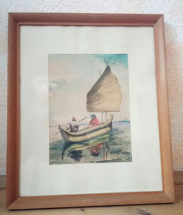 älteres Aquarell:Kolumbien, Segelboot, Indiopaar