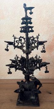 alte Bronze Pagode, Räuchergefäß mit Elefant, Vögeln, Figuren, Glöckchen