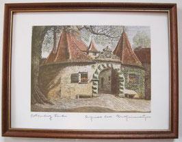Ernst Geissendörfer Farbradierung Rothenburg Burgtor