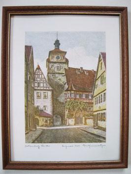 Ernst Geissendörfer Farbradierung Rothenburg weisser Turm