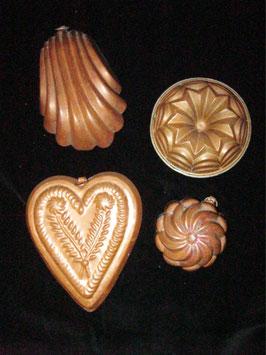 4 Backformen aus Kupfer