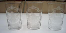 3 alte Wassergläser, Souvenir de Liège
