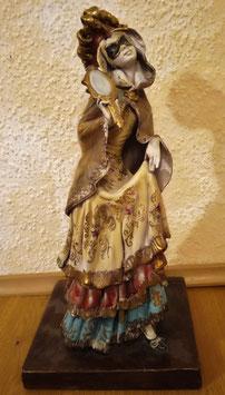 Keramik Figur mit Maske und Spiegel, Maskenball Karneval Venedig, signiert