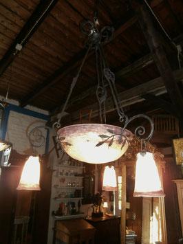 Deckenlampe, Pate de Verre, signiert Muller Fres Luneville, um 1920