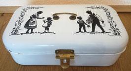 Emaille-Brotkasten um 1920, Scherenschnittmotiv