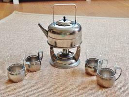 WMF Straußenmarke Teekanne mit Rechaud und 4 Teegläsern, Art Deco