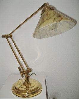Tischlampe, Messing, verstellbar auch als kleine Stehlampe