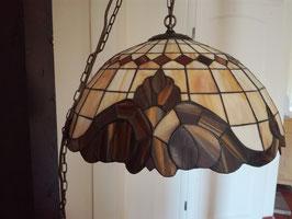 große Tiffany Deckenlampe, beige braun