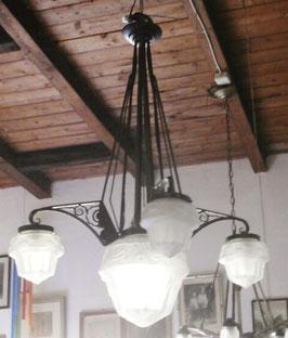 Art Deco Deckenlampe, signiert Muller Fres Luneville