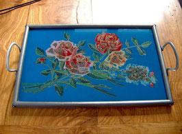 altes Tablett mit Hinterglasbild, Rosen-Motiv