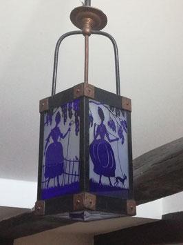 Art Deco Deckenlampe/Flurlampe, um 1920, Überfangglas