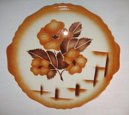 Tortenplatte/Kuchenplatte, Spritzdekor, Art Deco um 1930