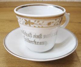 große Tasse + Unterteller mit Spruch zur Silberhochzeit