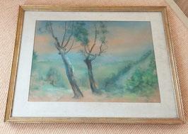 """Friedrich A. Weinzheimer Pastell Gemälde """"Vor dem Gewitter"""" von 1941,signiert"""