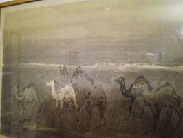alter Kunstdruck, 60er Jahre, Dromedare Wüste Mond, signiert