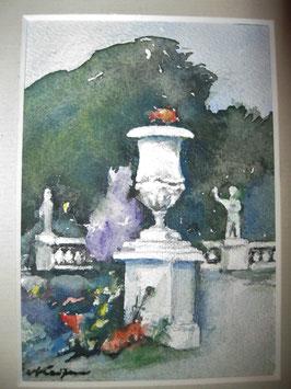 Aquarell, Walter Kaufmann, barocke Parklandschaft