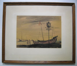 Bild mit Segelschiffen, signiert