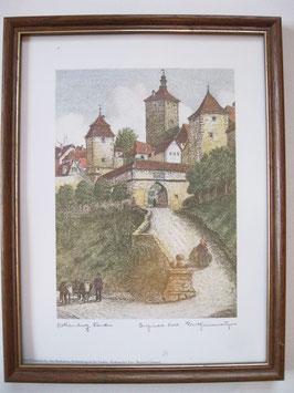 Ernst Geissendörfer Farbradierung Rothenburg am Marktplatz