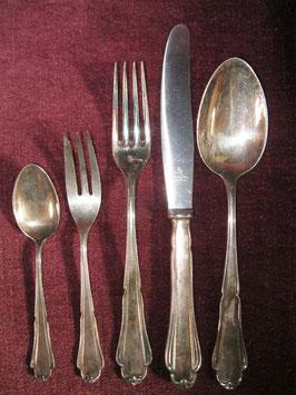Besteck für 6 Personen, Martin, Modell Barbara, 90er Silberauflage, 30 Teile