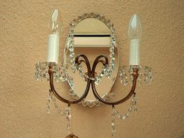 Wandlampe, um 1970, mit Spiegel und Kristallanhängern