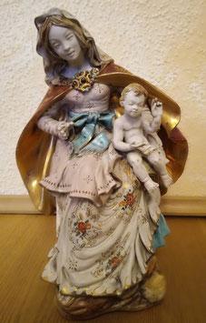 alte Heiligenfigur Maria mit Kind, Keramik