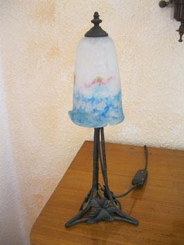 kleine antike Tischlampe, Schirm signiert Muller Fres Luneville