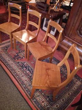 4 Biedermeier Stühle, Ulme (Rüster)