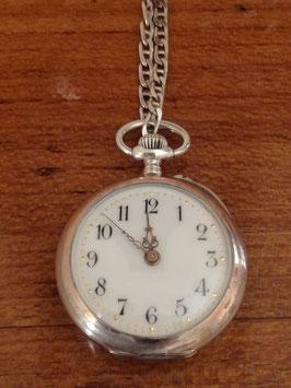 Antike Damen-Taschenuhr K & L mit Uhrkette Silber Halbmond Krone teilvergoldet