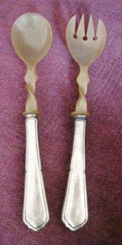 antikes Salatbesteck, WTB, Horn und 800er Silber mit Halbmond,Krone