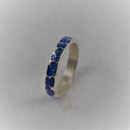 Silberring mit blauer Acryleinlage