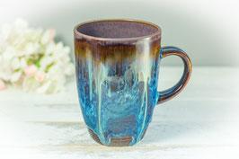 058 - Kleine elegante Keramiktasse in braun, blau, creme und graulila