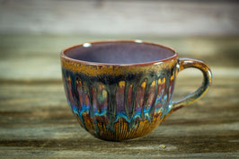 148 - Jumbo Keramiktasse in braun, blau und graulila