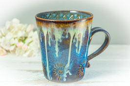 062 - Keramiktasse in braun, blau, creme