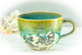075 - Jumbo Keramiktasse OZEAN in grün, türkis