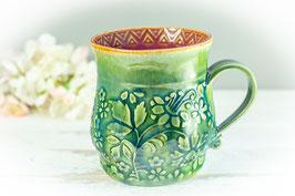 073 - Große Keramiktasse in grün, türkis, pflaume