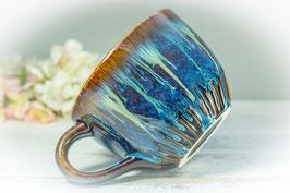038 - Jumbo Keramiktasse in braun, blau, türkis