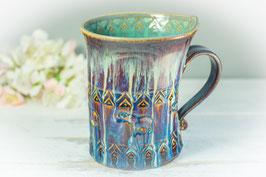 042 - Geschwungene Latte Macchiato Tasse in braun, blau, creme und türkis