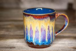 176 - Große Keramiktasse in braun, blau, goldgelb und saphir innen